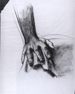 "Image of Study for ""The Incident"", Hand resting on drapery"