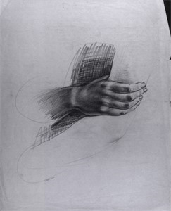 "Image of Study for ""The Incident"", Hand on drapery"